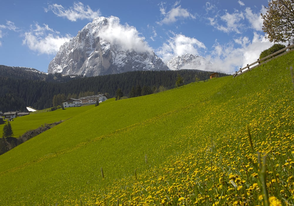 Panoramic view of Wolkenstein in Val Gardena